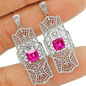 Jewelry - 2CT Pink Sapphire 925 Silver Filigree earrings